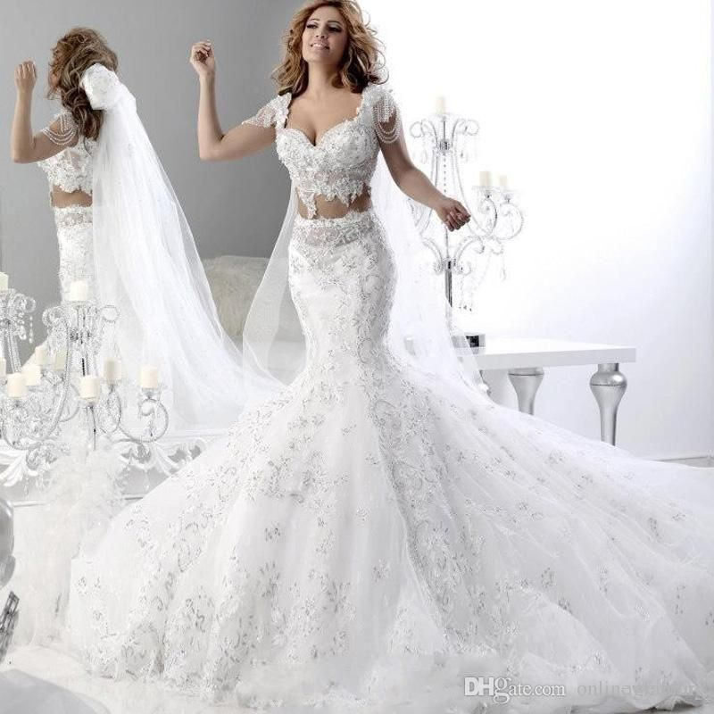 2016 Two Pieces Trumpet Wedding Dresses Mermaid Bridal Gowns
