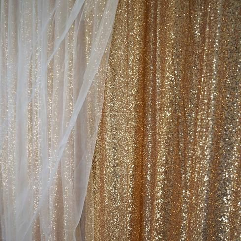 20ft X 10ft Premium Gold Sequin Backdrop Curtain Double Layered