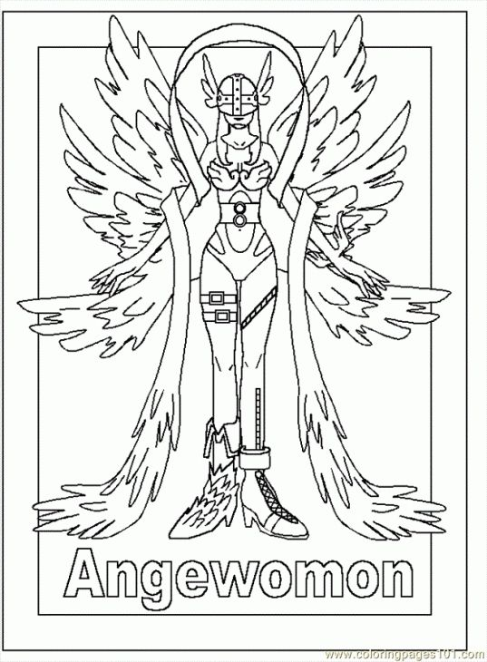 Angewomon From Digimon Coloring Page Online | Japanese Anime ...