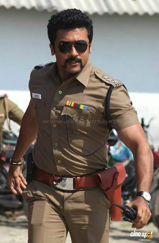 Suriya as a virile police officer with a cosmically awesome