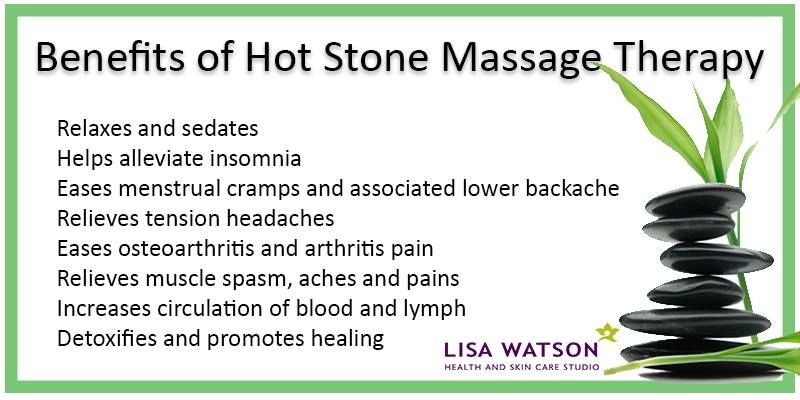 Experience the power of Hot Stone Massage! Working 5 times deeper than manual massage, let the heat and gentle vibration of tapping stones wash away any tension, aches and pains.  https://www.facebook.com/LisaWatsonBeautyandRelaxationStudio/photos/a.578480232285823.1073741828.578468802286966/583771895089990/?type=1&theater
