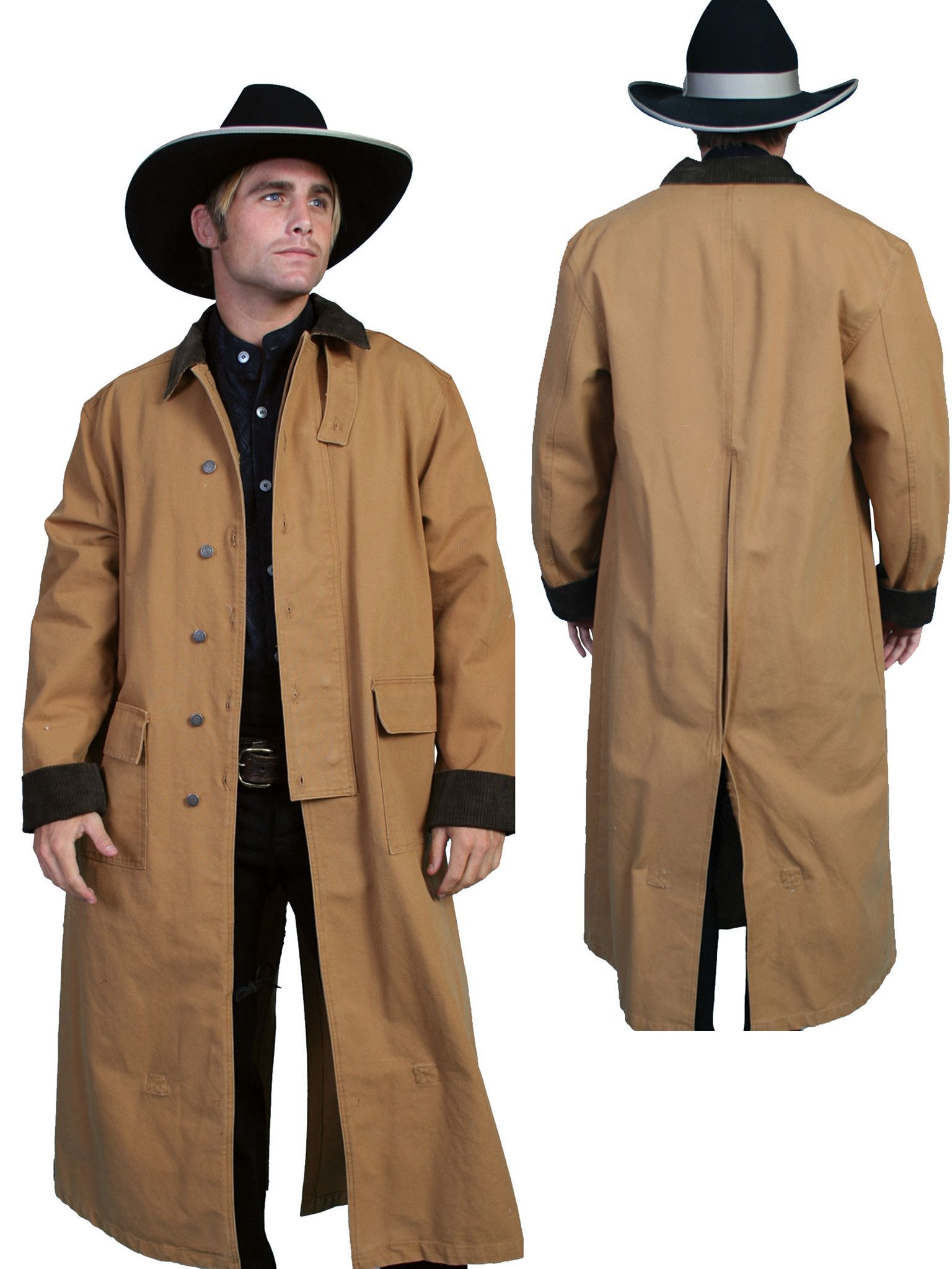 6e980f246ac Scully RangeWear Mens Brown 100% Cotton Long Overcoat Duster Coat ...