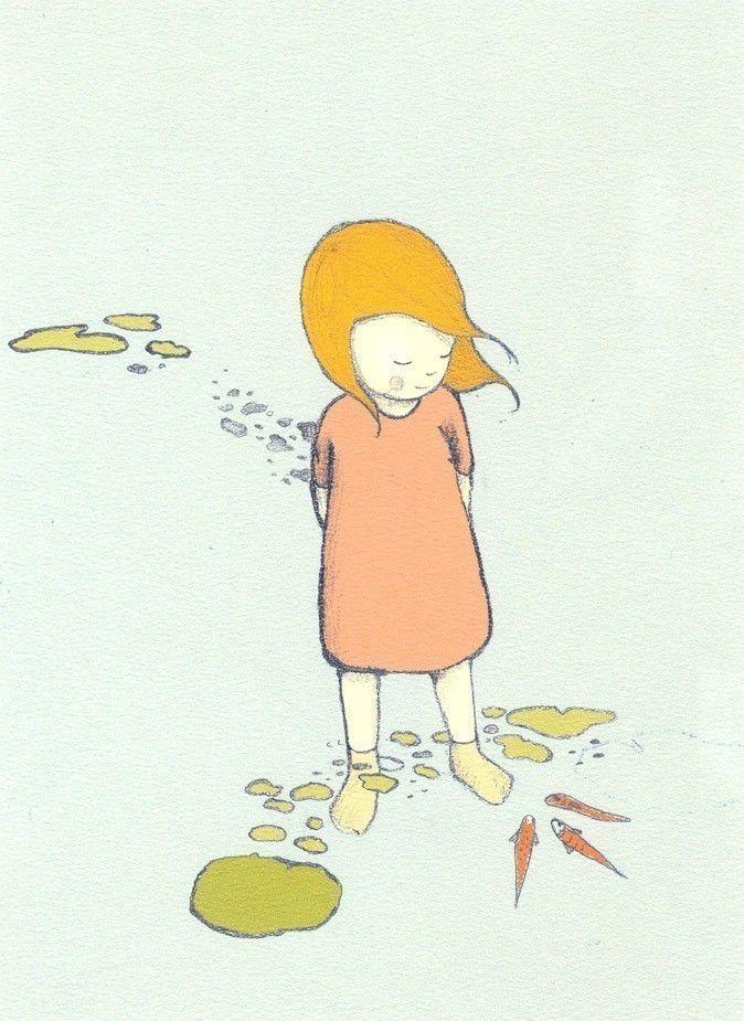 A Andreia adora andar descalça. Assim ela pode dar comida aos peixes com os seus pés.