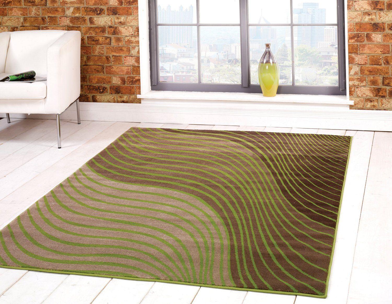 Very Large Modern Waves Design Green Beige Brown Area Rug In 160 X 230 Cm 5 3 7 Carpet Co Uk Kitchen Home