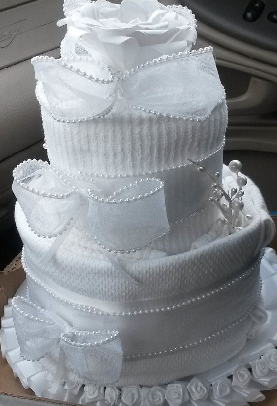 Bridal/New Home Dish towel cake by naturalTRees on Etsy #dishtowels