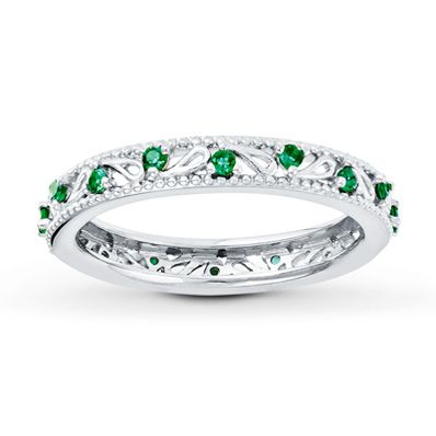 Stackable Ring Lab Created Emerald Sterling Silver Wedding Rings Vintage Emerald Jewelry Wedding Rings