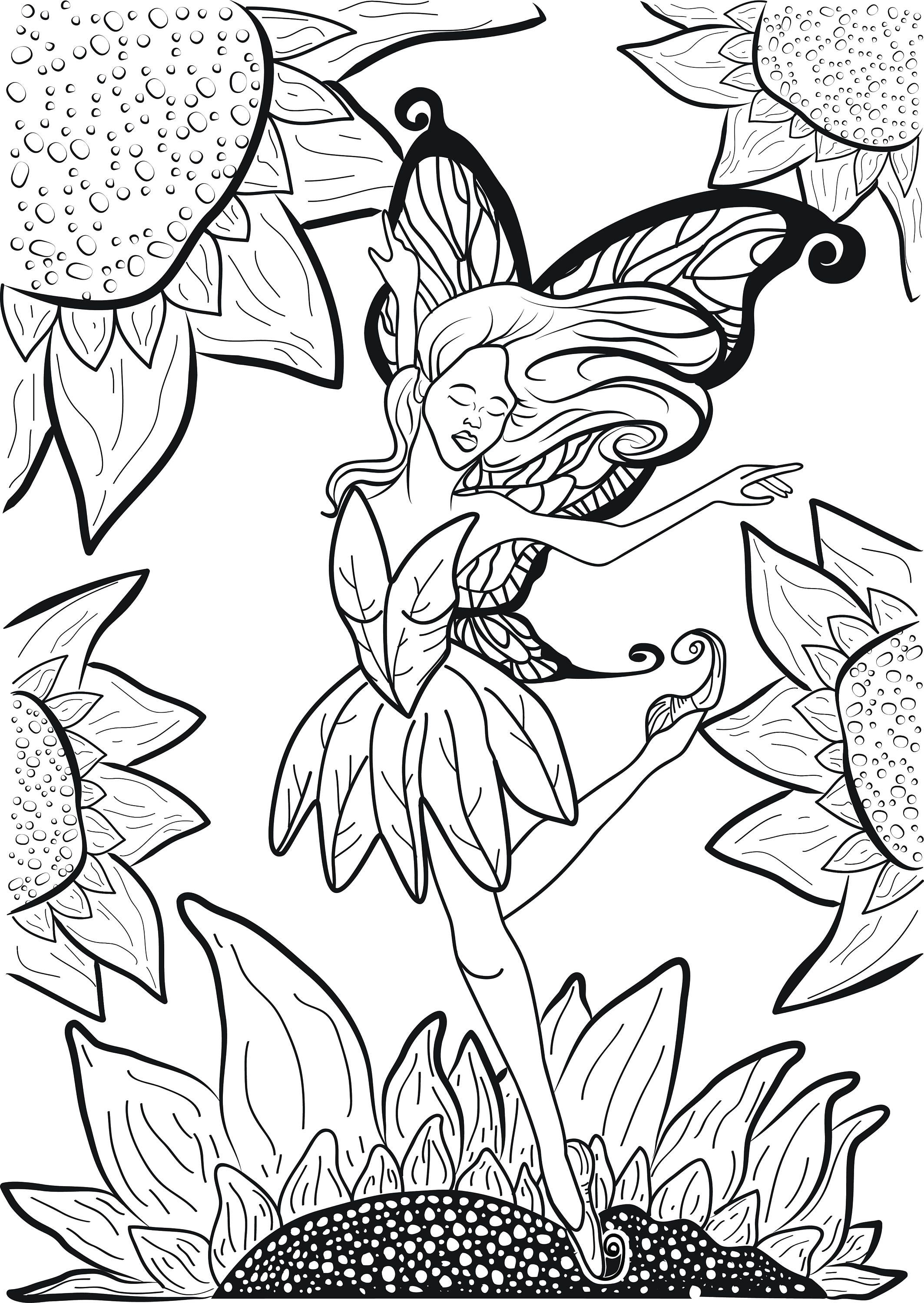Adult Coloring Page Dancer Balerina Fairy Leaping On