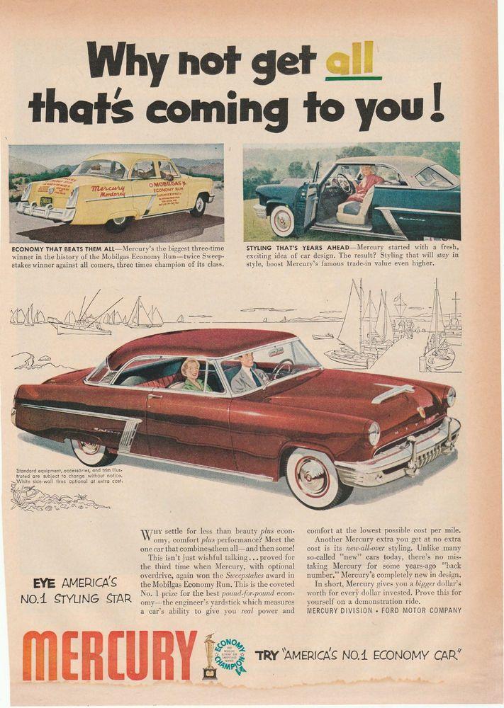 1950\'s Mercury Vintage Magazine ad (M022) | VINTAGE CAR ADVERTISING ...