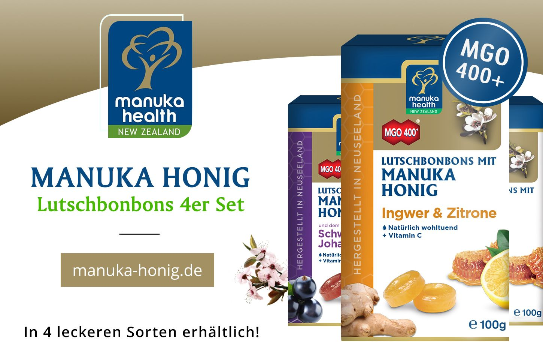 Manuka Health Lutschbonbons 4er Set Manuka Honig Mgo 400 4x100 G Manuka Honig Lutschbonbon Und Honig