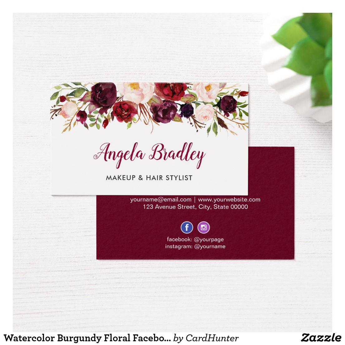 Watercolor Burgundy Floral Facebook Instagram Logo Business Card Zazzle Com Facebook And Instagram Logo Instagram Logo Business Card Logo