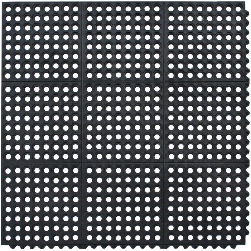 TrafficMaster Black 36 in. x 36 in. Rubber AntiFatigue