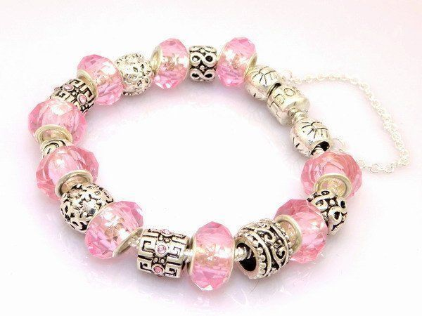 Pandora Bracelet  Authentic Silver Sterling European Charms  Pale  Pink #Pandora #European