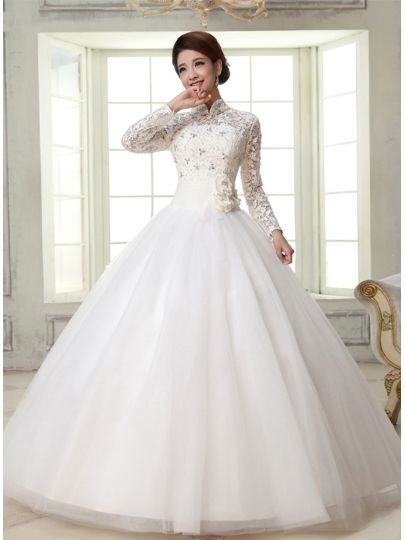Ball Gown High-Neck Long Sleeves Lace Wedding Dress | Beautiful ...