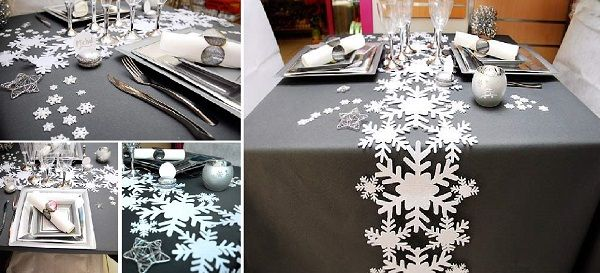 Jolie d coration de table de no l blanc et gris table de no l blanche no l blanc et table de no l - Decoration de table de noel blanche ...