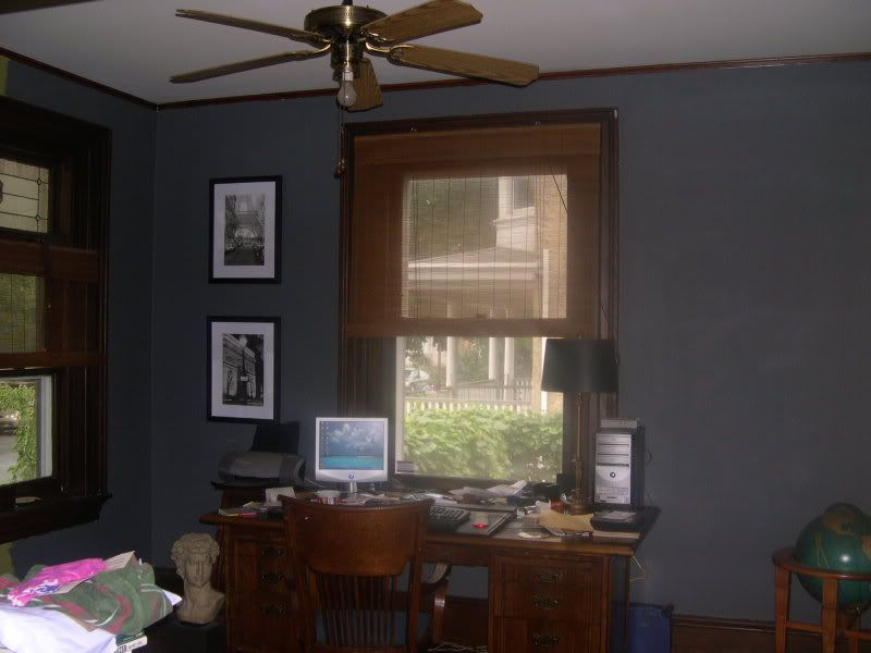Blue wall with dark wood trim for the home pinterest for Wall colors with dark wood trim