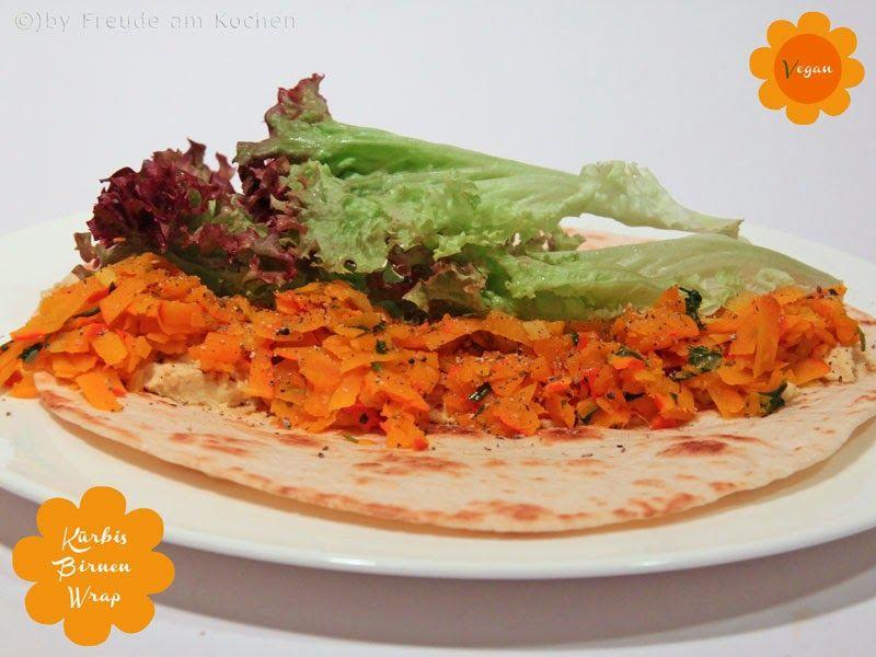 Kürbis Birnen Humus Wrap vegan fürs Kürbirne Blogevent von Freude am Kochen