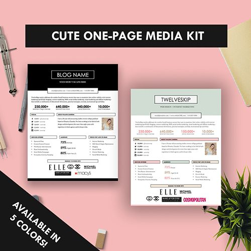 5 Punchy Easy-to-edit Media Kit Templates For Bloggers Media kit