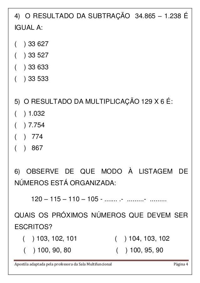 Apostila Matematica Em Pdf Atividades De Matematica Atividades