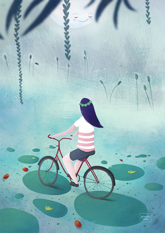 Bicycle ride at night //// A vélo #illustration  Germaine Caillou