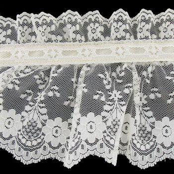 Ecru Lace With Ribbon Trim Lace Ribbon Beaded Lace