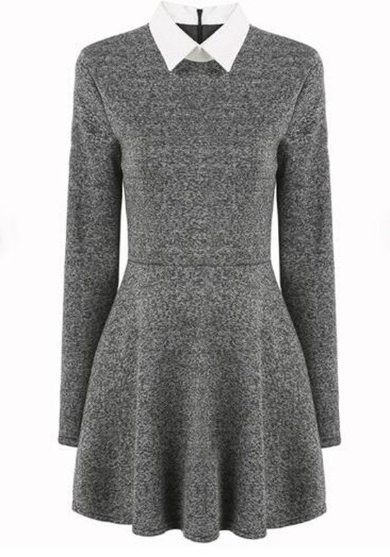 Grey Plain Peter Pan Collar Long Sleeve Pleated Casual Mini Dress ... bc378e1a074