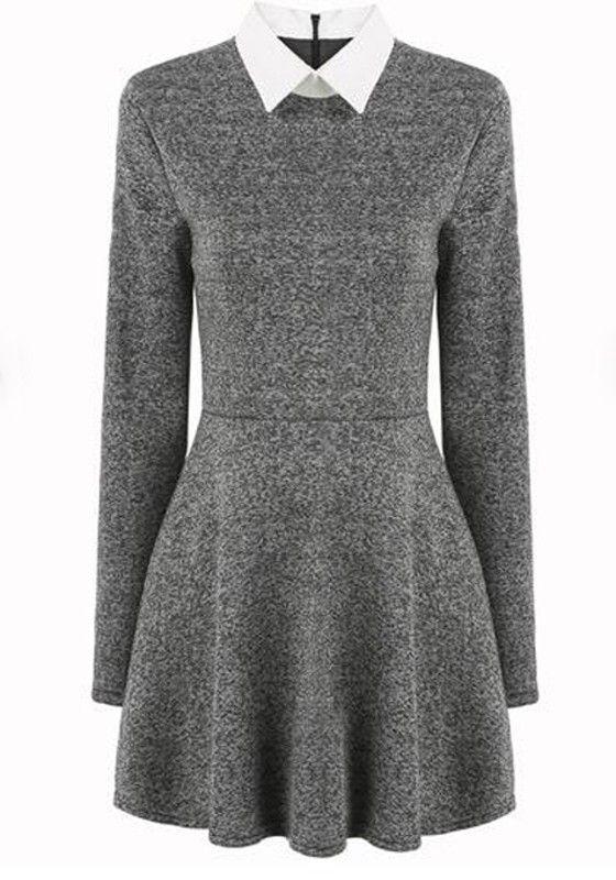 Grey Plain Peter Pan Collar Long Sleeve Pleated Casual Mini Dress ...