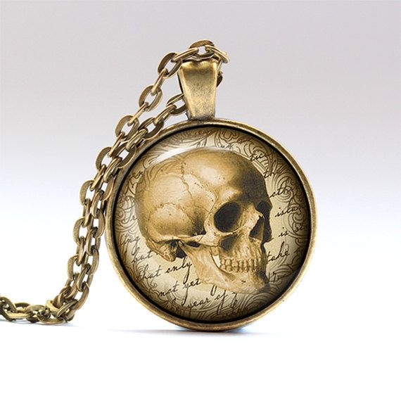 Skull charm. Anatomy necklace. Medical pendant.    Handmade pendant necklace, comes in bronze or silver finish, on a chain or a leather cord.    SIZE: