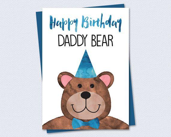 Printable Birthday Card Happy Birthday Daddy Bear Instant PDF – Printable Father Birthday Cards