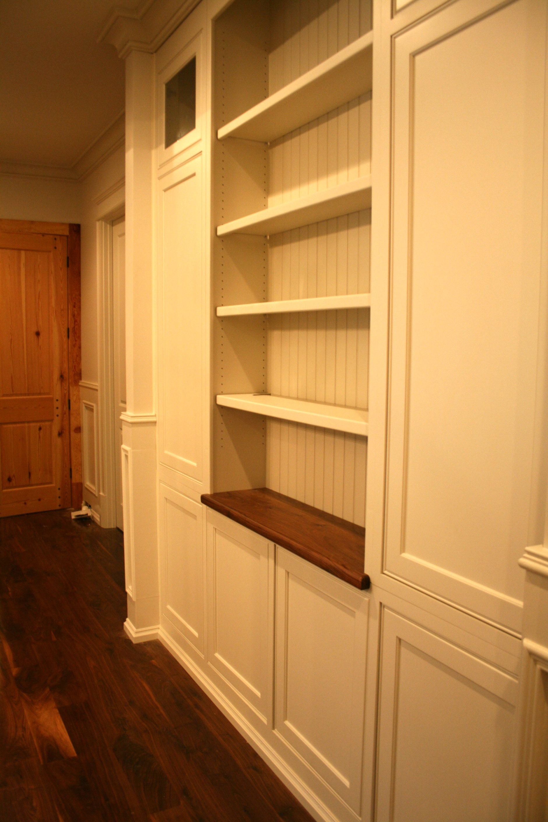 Narrow Hallway Built In Shelves With Enclosed Cabinets Beneath Narrow Hallway Hallway Storage Hallway Storage Cabinet