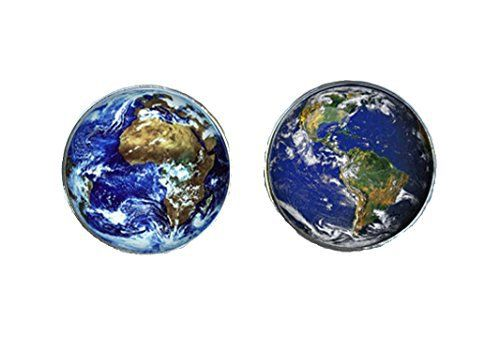 Monde/terre boutons de manchette et boutons de manchettes boîte de présentation, World 3, Taille Unique: Tweet Boutons de manchette de luxe…