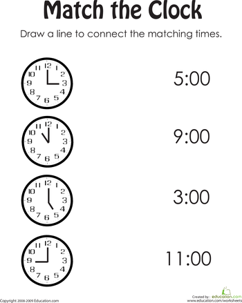 Match The Clock Worksheet Education Com Time Worksheets Clock Worksheets Telling Time Worksheets