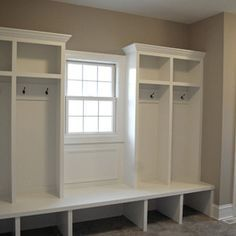 Mudroom  But Omit The Middle Built In Bench And Put A Pretty Bench In  Traditional Home Narrow Mudroom Design Ideas, Pictures, Remodel And Decor