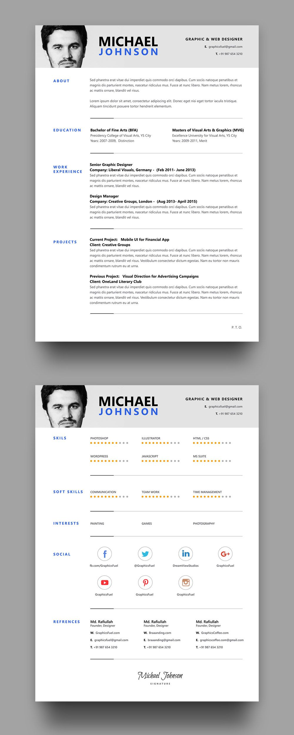 Resume / CV PSD Template Graphic resume, Resume layout