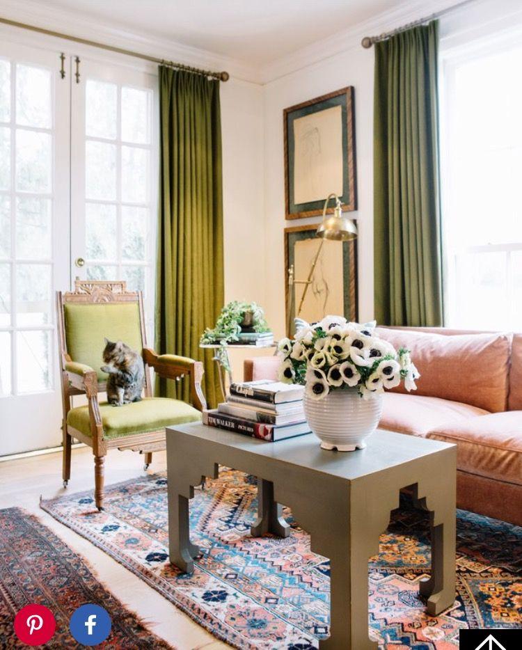 Karen Elson // green curtains