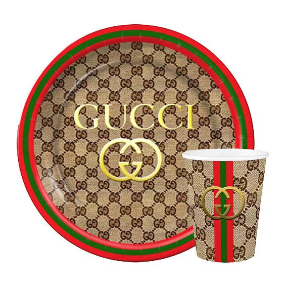 With custom Gucci Inspired Plates and Cups! Any Combination of the following 1) 16pcs 9 Personalized Dinner Paper Plates or 2) 16pcs ...  sc 1 st  Pinterest & Gucci Inspired Custom Plates or Cups | Pinterest | Custom plates ...