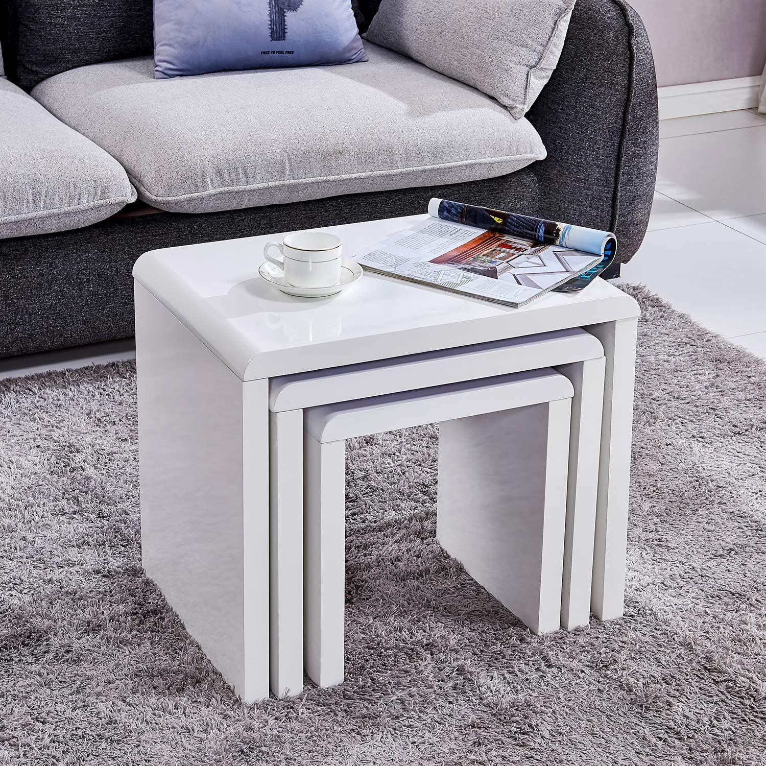 Trustiwood White Coffee Table Set Nesting Of 3 Piece Modern End Side Table Sofa Table Set Of 3 Living Room Living Room Table Sets Coffee Table Living Room Sets