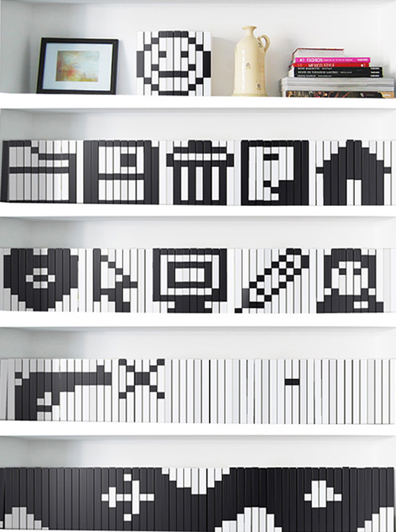 How To Turn A Bookshelf Into Pixel Art