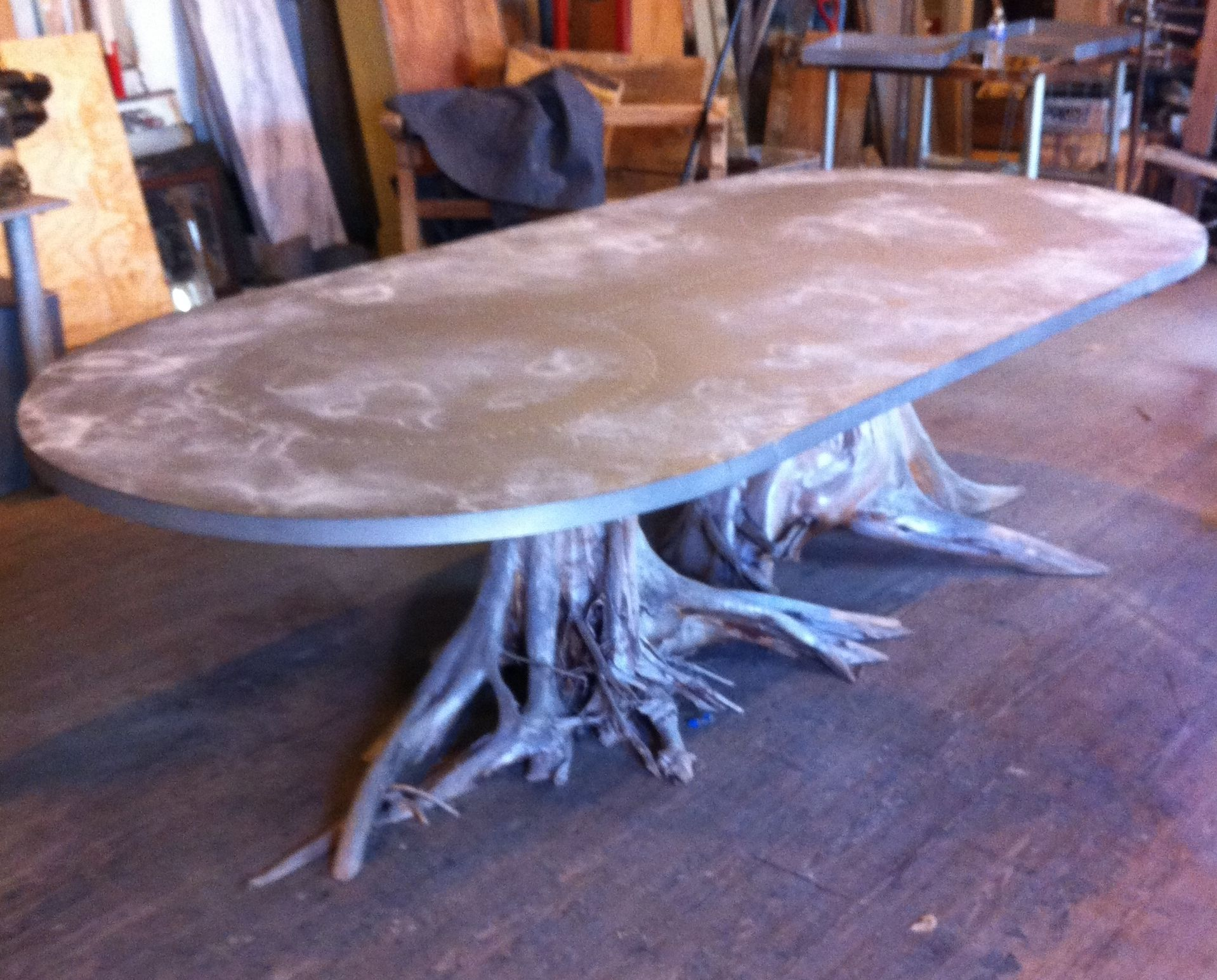 One of a Kind Large Double Tree Root Dining Table with Zinc Oval ...