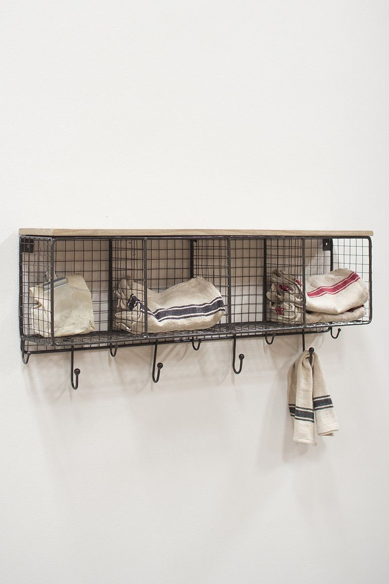 Horizontal Wire Cubby With Hooks Wooden Tops Ladder Shelf Decor Wire Mesh