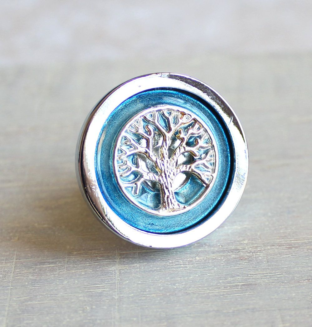 ice blue tree drawer pull, decorative drawer pull, cabinet knob ...