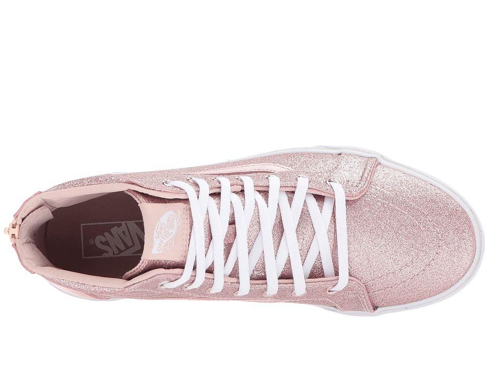 Vans Kids Sk8-Hi Zip (Little Kid/Big Kid) Girl's Shoes (Glitter + Metallic) Blush