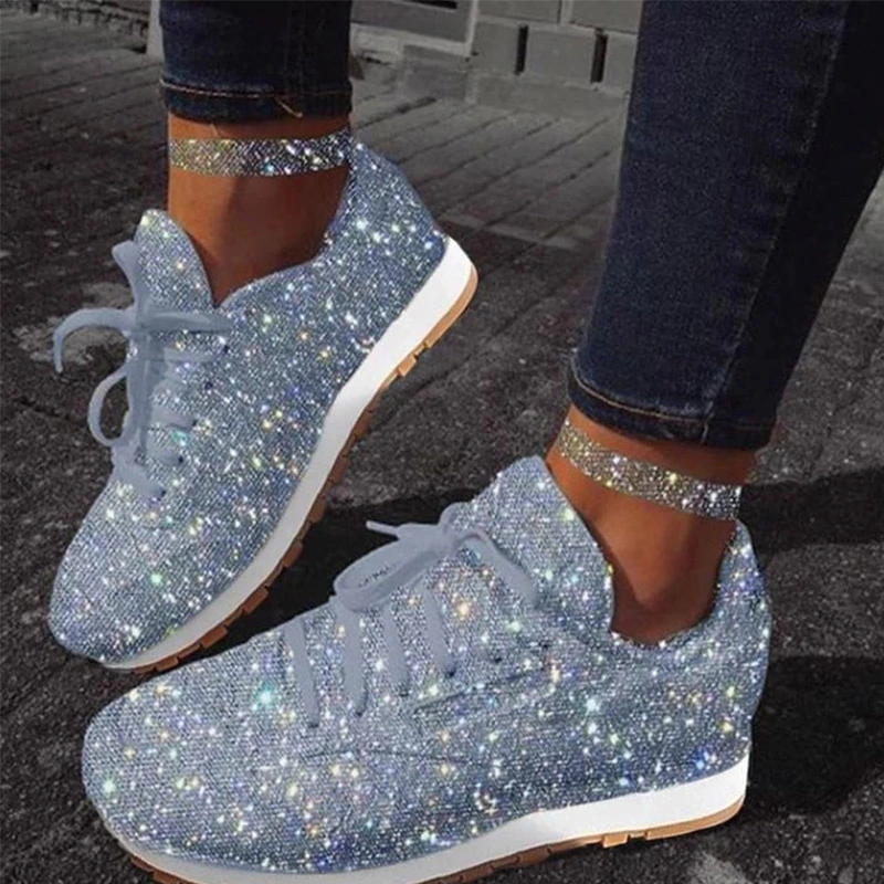 Fashion Shoes Girls Kids Glitter Shiny Casual Lace Up Running Sneakers Trainers