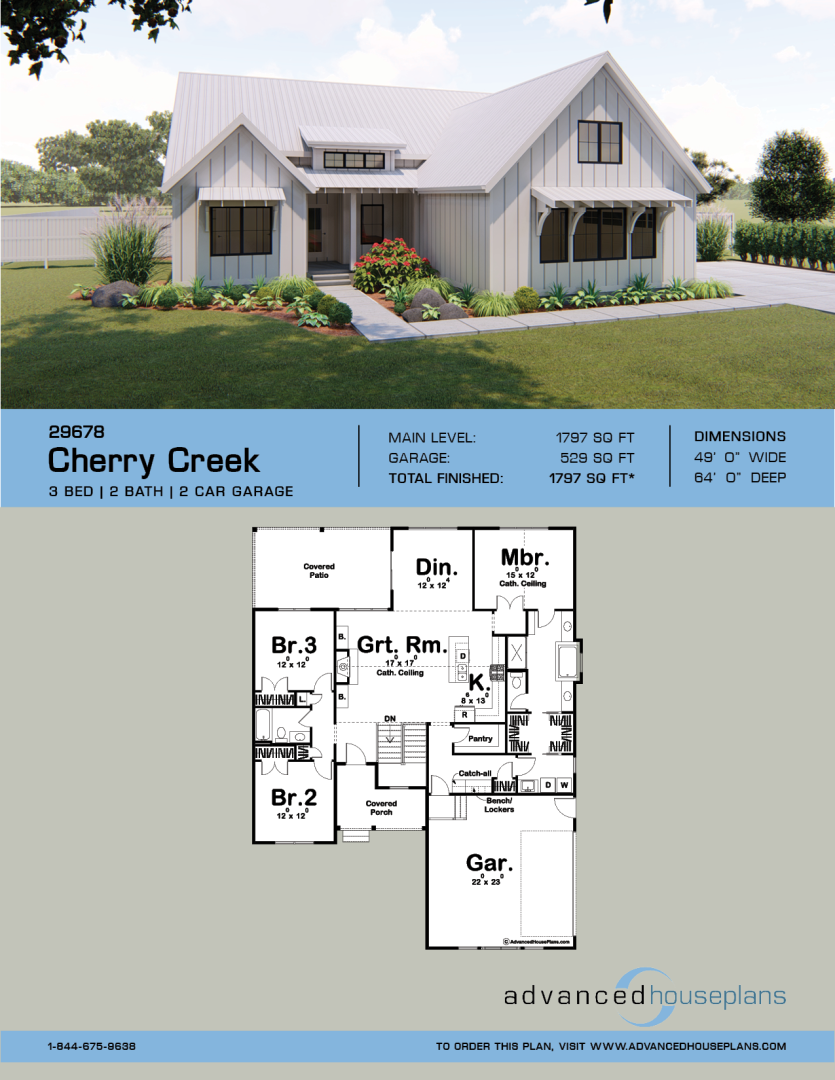 1 Story Modern Farmhouse Plan Cherry Creek Modern Farmhouse Plans House Plans Farmhouse Farmhouse Floor Plans