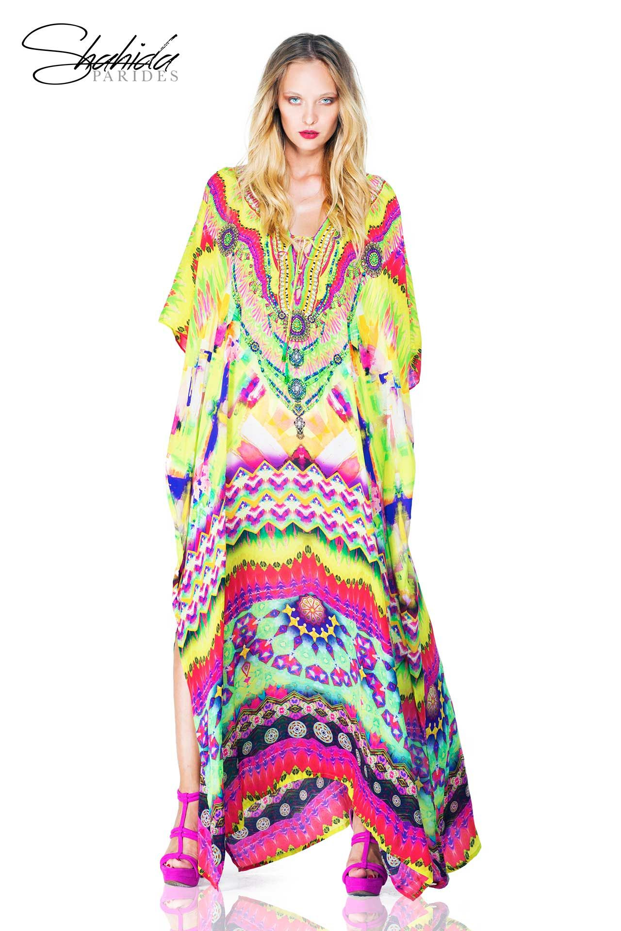 Shahida Parides Long Lace-up Kaftan as seen on Kyle Richards of RHOBH e7452857588