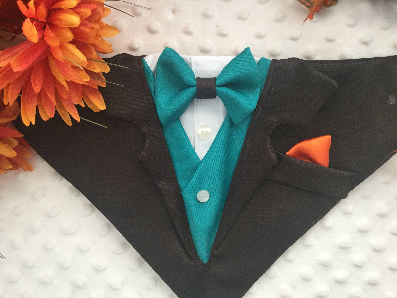 Dark Brown dog tuxedo with optional vest and bow tie, Collar Bandana ...