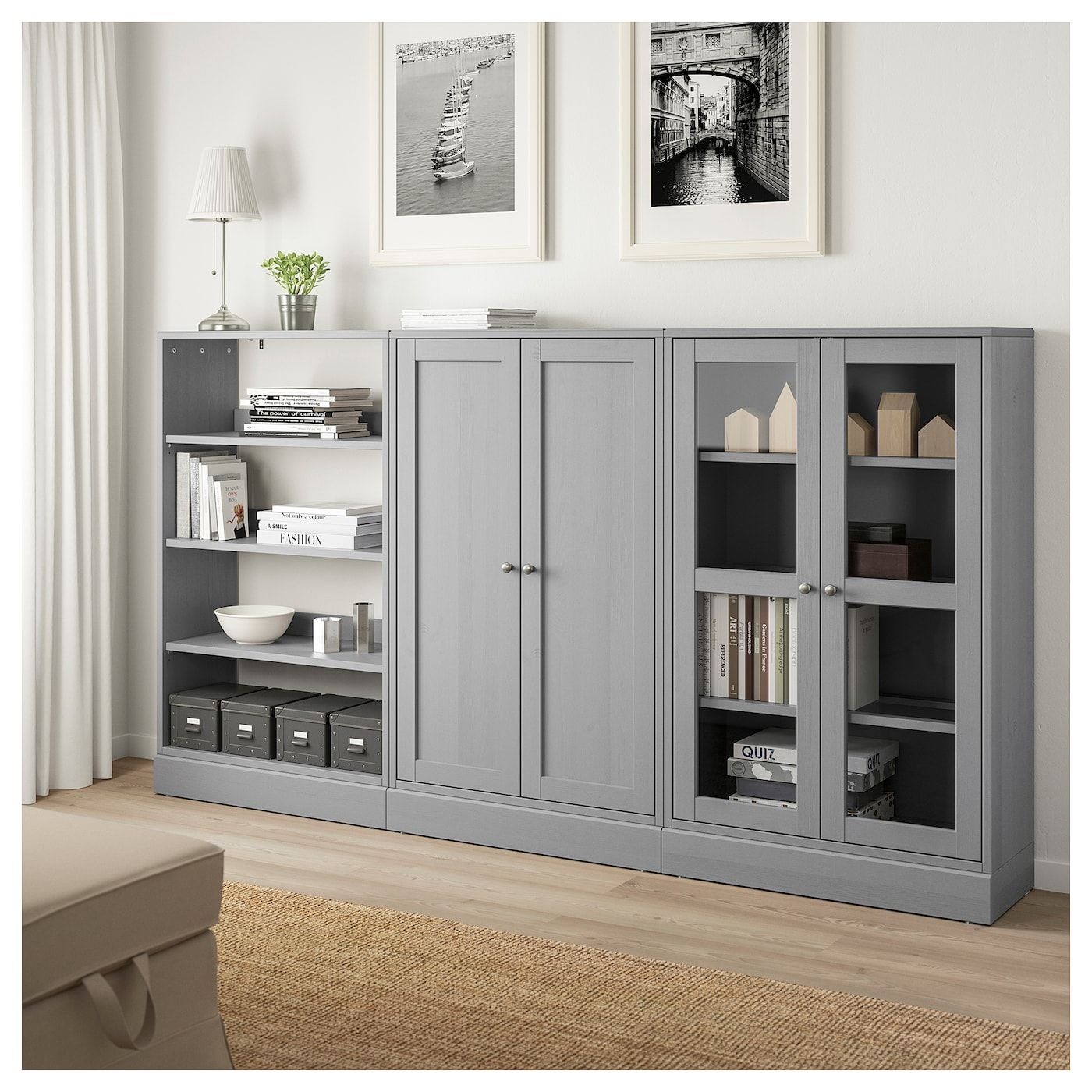 Havsta Storage Combination W Glass Doors Gray 95 5 8x14 5 8x52 3 4 243x37x134 Cm Living Room Storage Cabinet Dining Room Storage Ikea Living Room