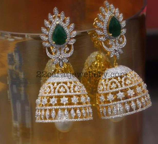 10375a1e9 18 carat yellow gold classic jhumkas by Parnicaa, rose cut and brilliant  cut diamonds, large round emeralds studded on it. Large south se.