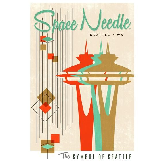 The Space Needle - Simple Block Color - Mid Century Modern Graphic Design (Art Prints, Giclees, Wood #graphicdesign