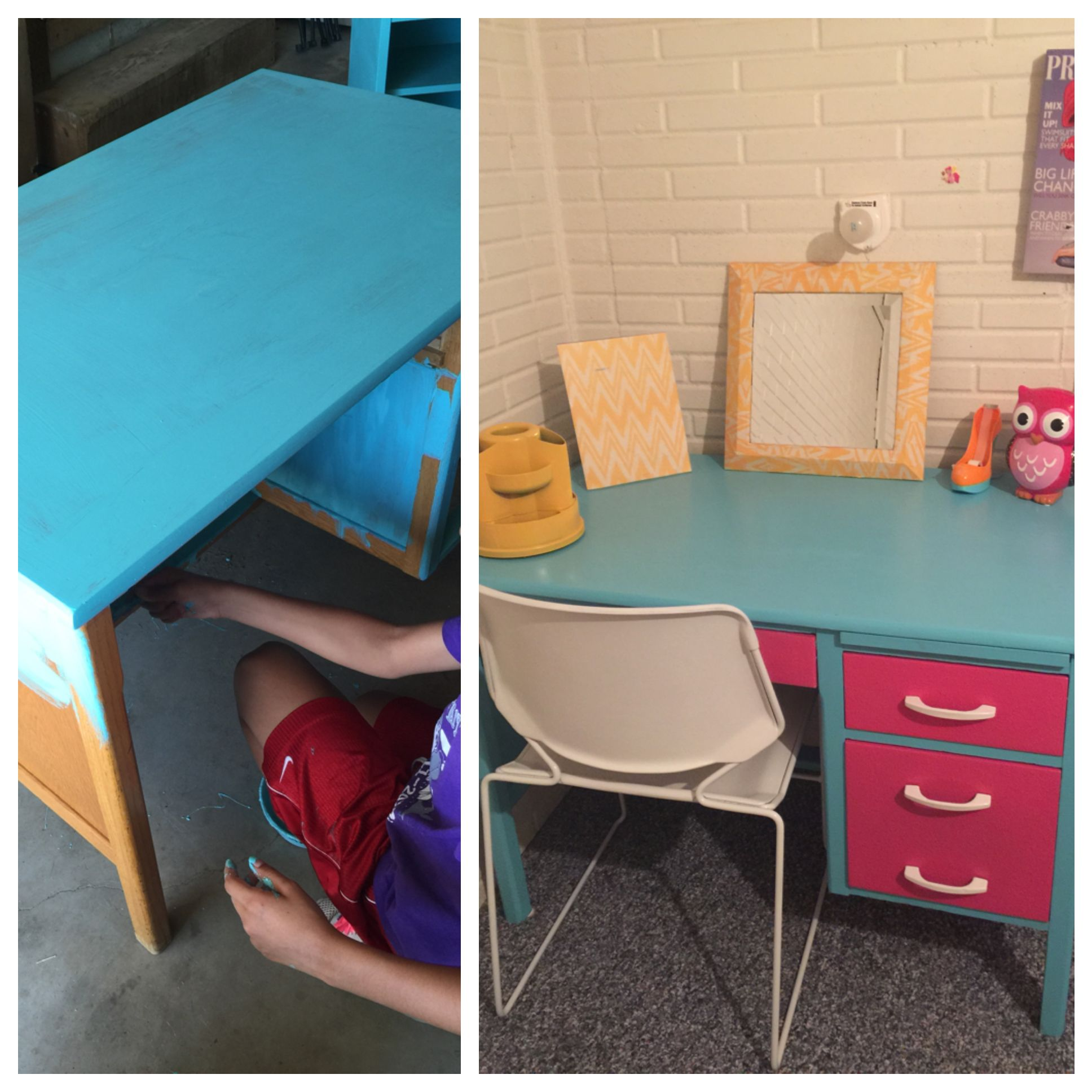 Amaya and I refinished her desk with homemade chalk paint. Spray painted her chair and pencil holder. Kalandrah and  Cassandra helped Mod Podge the Mirror. Amaya loves it❤️ Thank you for helping girls. Almost forgot to thank Jose for helping as well.