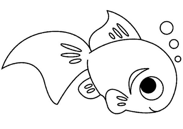 Fish, : Cute Fish Coloring Page